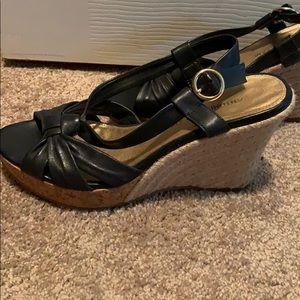 ANTONIO MELANI Navy Leather Wedge Sandals
